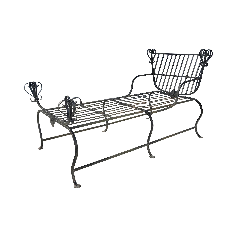 Unusual Iron Chaise Lounge, Custom Made, Savonarola Style, Indoor /Outdoor