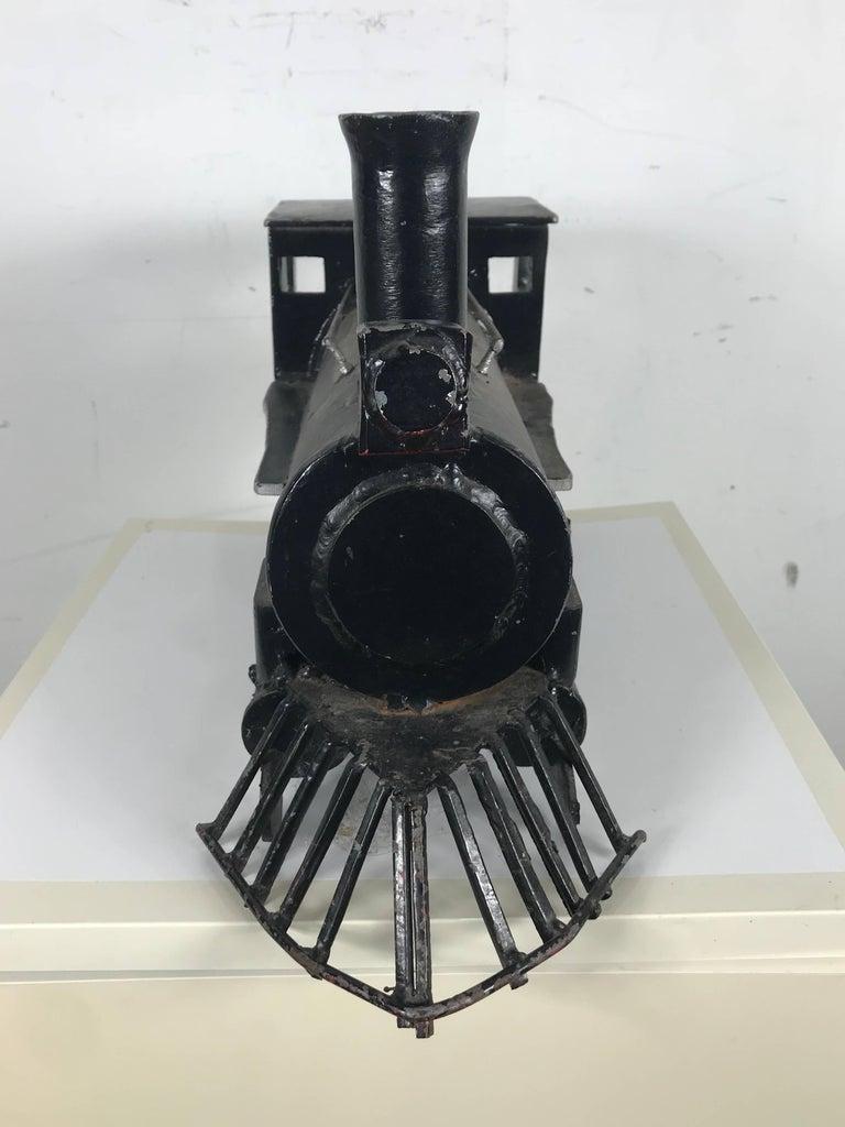 Hand-Crafted Unusual Iron Welded Handmade Folk Art Locomotive, Train For Sale