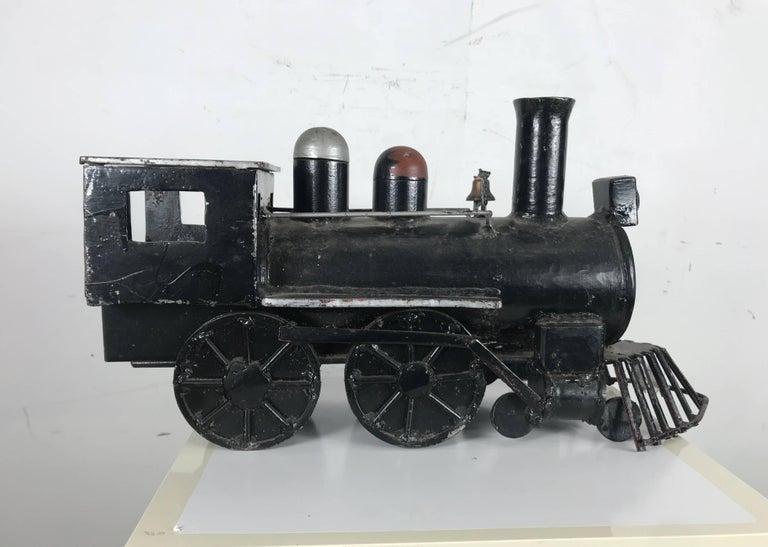 Unusual Iron Welded Handmade Folk Art Locomotive, Train In Distressed Condition For Sale In Buffalo, NY