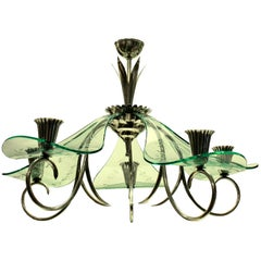 Unusual Italian Chandelier in Silver and Glass