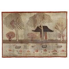 Unusual Ivory Antique Art Deco Zen Samarkand Rug