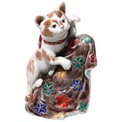 Unusual Japanese Porcelain Beckoning Cat Sculpture