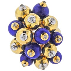 Unusual Lapis Lazuli Diamond Ball Gold Cocktail Ring