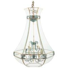Unusual Large Hexagonal Shaped Bronze Lantern with Shaped Beveled Glass Panels