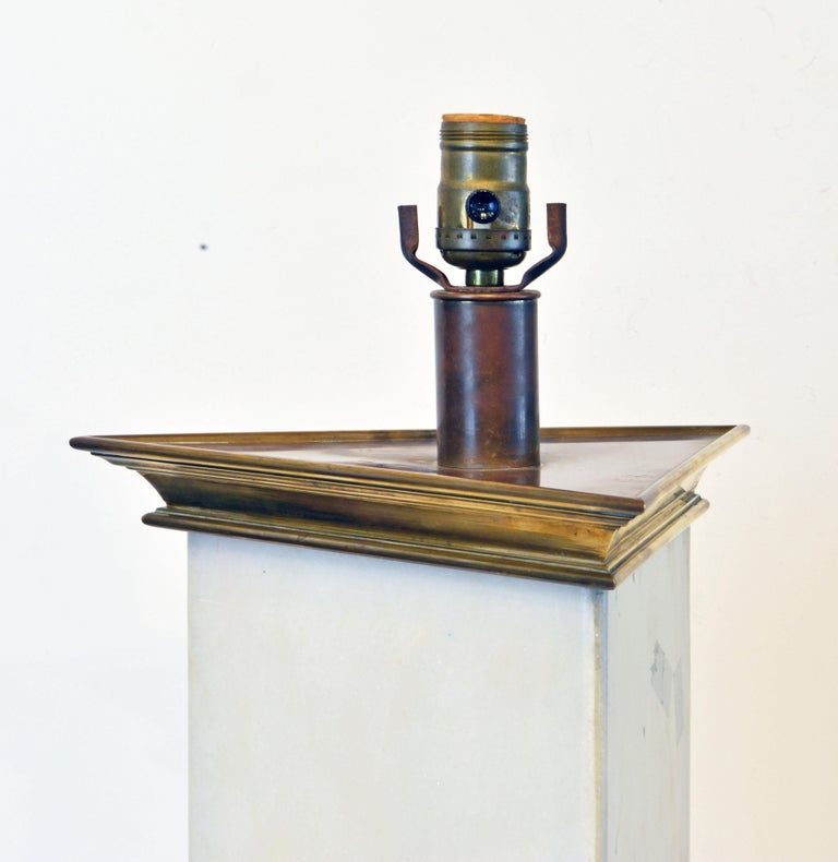 Mid-Century Modern Unusual Large Midcentury Triangular Brass Mounted Onyx Table Lamp For Sale