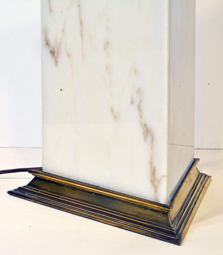 American Unusual Large Midcentury Triangular Brass Mounted Onyx Table Lamp For Sale