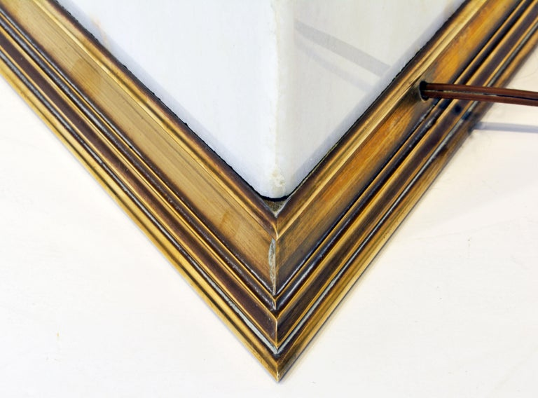 Unusual Large Midcentury Triangular Brass Mounted Onyx Table Lamp For Sale 1