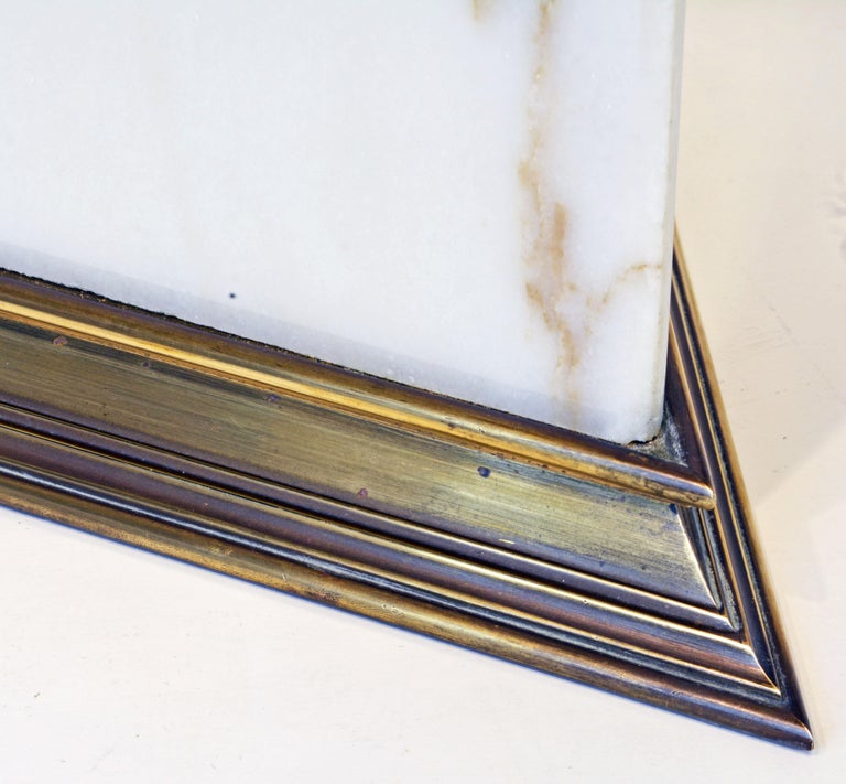 Unusual Large Midcentury Triangular Brass Mounted Onyx Table Lamp For Sale 3