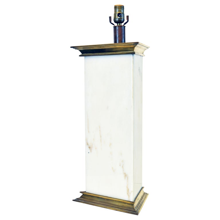 Unusual Large Midcentury Triangular Brass Mounted Onyx Table Lamp For Sale