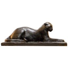 Unusual Large Plaster Maquette of a Panther