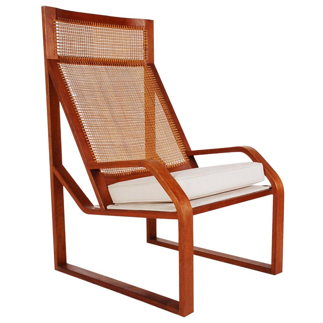 Unusual Large Scale Midcentury Danish Modern Cane and Teak Lounge Chair Armchair