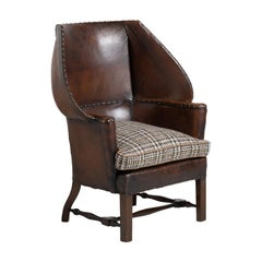 Unusual Leather Wingchair