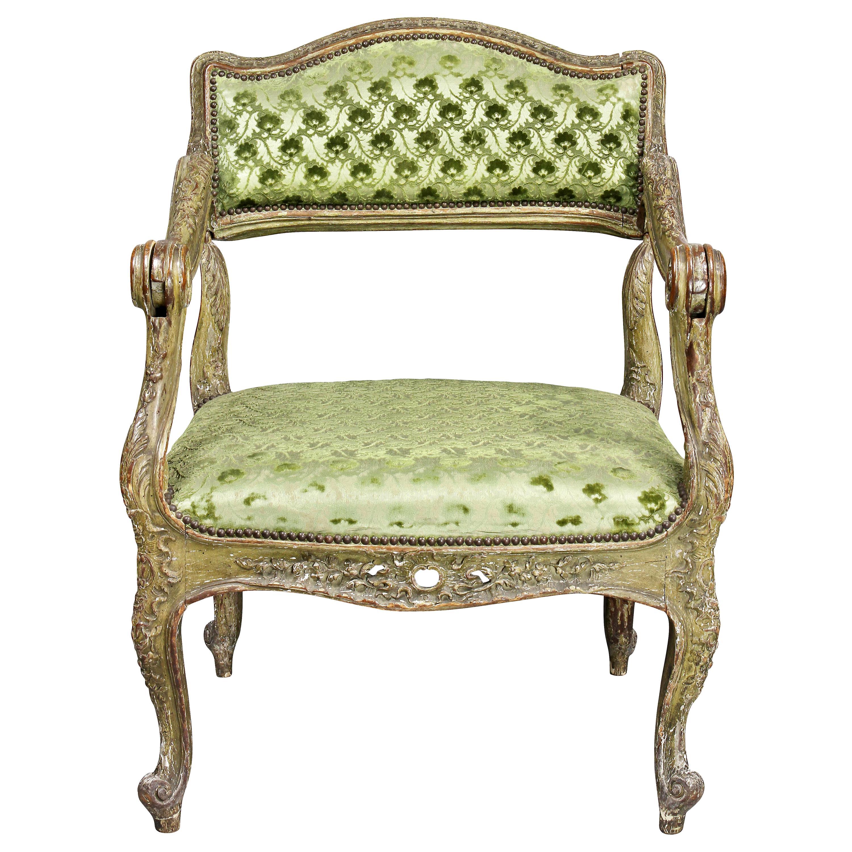 Unusual Louis XV Painted Armchair