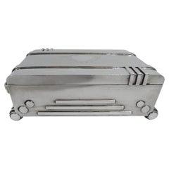 Unusual Machine Age Silver Box in Form of Art Deco Radio