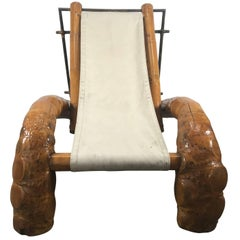 Unusual Massive Bamboo Root Chaise Sling Lounge Chair, Modernist