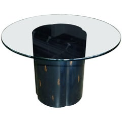Unusual McGuire Glass Top Metal and Wood Table