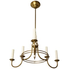 Unusual Mid-century Italian Brass and Tole Six-Arm Fixture