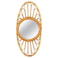 Unusual Mid-Century Modern Bamboo and Rattan Large Oval Mirror, Spain, 1960s