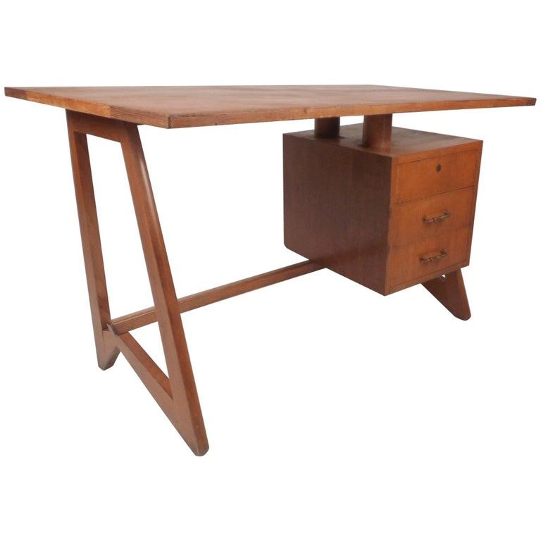 Unusual Mid Century Modern Desk In The Style Of Paul Frankl For Sale