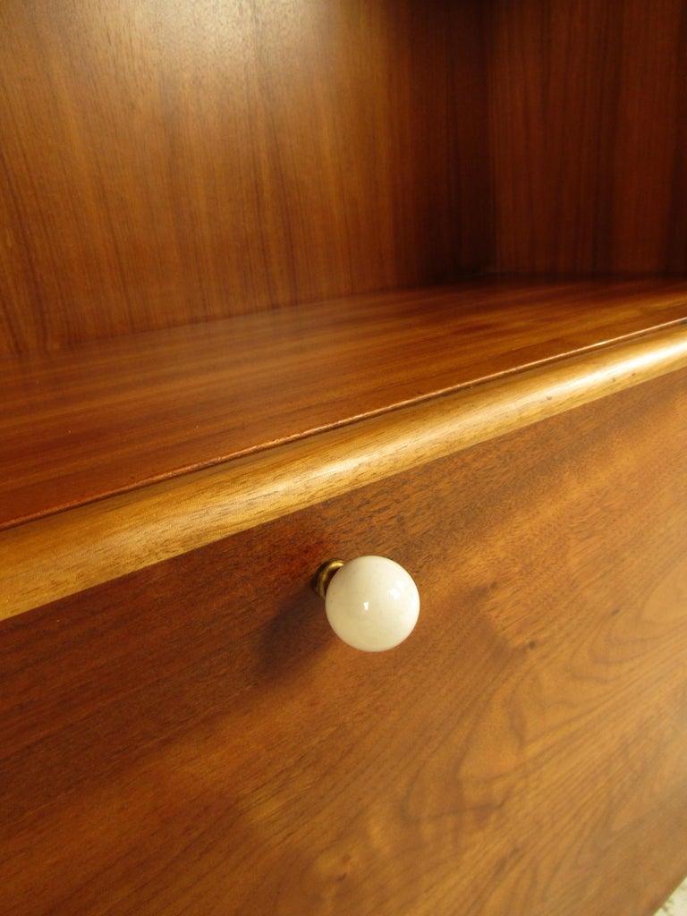 Unusual Mid-Century Modern Drexel Two-Piece Hutch For Sale 5