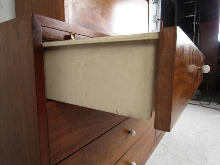 Unusual Mid-Century Modern Drexel Two-Piece Hutch For Sale 9