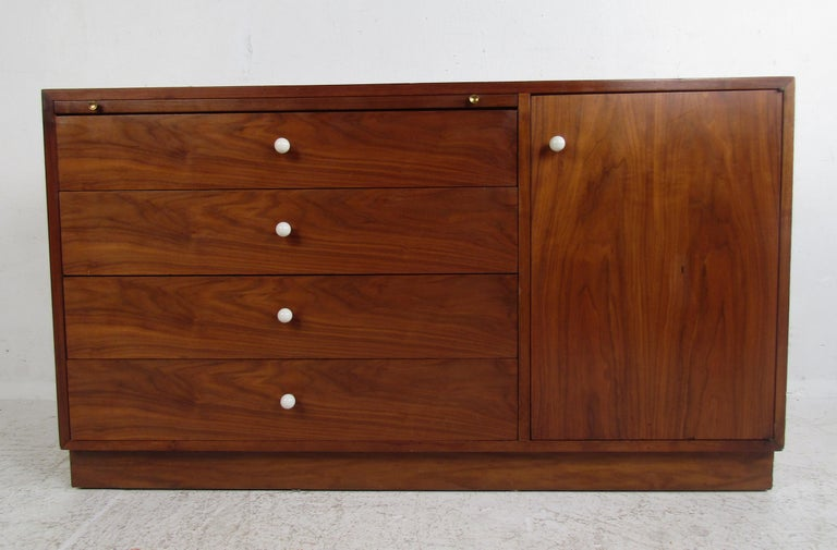 Walnut Unusual Mid-Century Modern Drexel Two-Piece Hutch For Sale