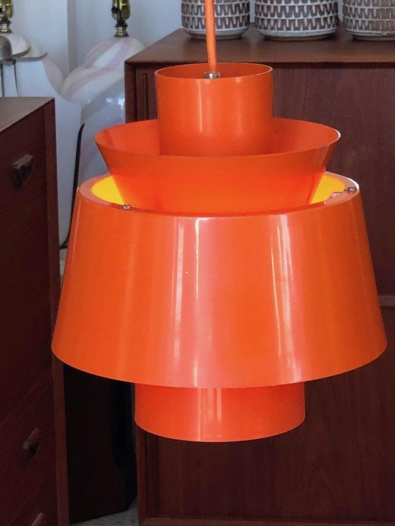 Danish Unusual Mid Century Orange Pendant P254 by Jørn Utzon for Nordisk Solar Co For Sale