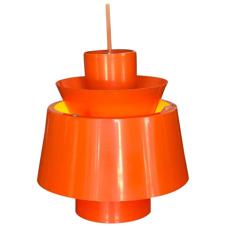 Unusual Mid Century Orange Pendant P254 by Jørn Utzon for Nordisk Solar Co For Sale