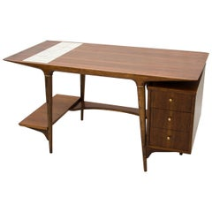 Unusual Mid Century Desk by Lane, with Floating Drawer Cabinet & Tile Insert