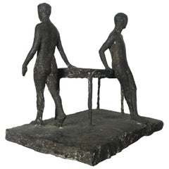 "Unusual Modernist Figurative Bronze Sculpture ,""Man/Woman/Table"" Branax"
