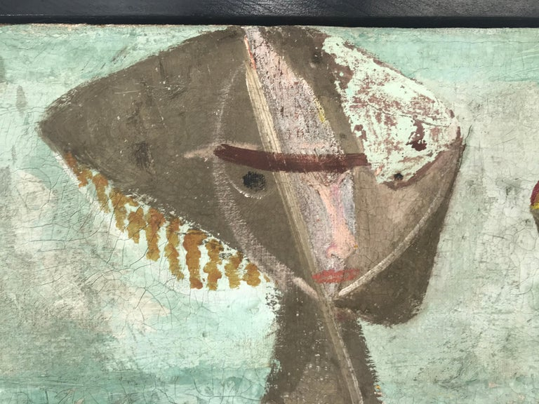 Mid-Century Modern Unusual Modernist Oil on Canvas Surrealist, Signed Oliver Smith, circa 1951 For Sale