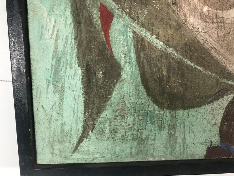 Unusual Modernist Oil on Canvas Surrealist, Signed Oliver Smith, circa 1951 In Good Condition For Sale In Buffalo, NY