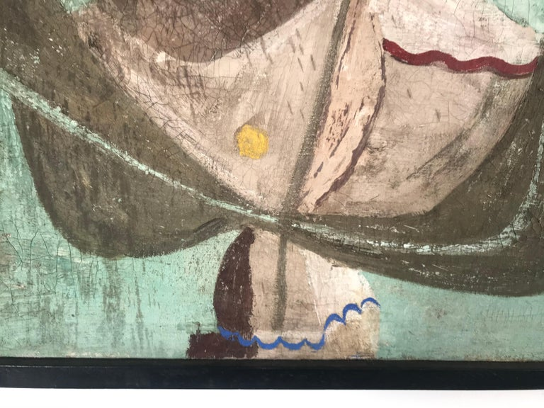 Unusual Modernist Oil on Canvas Surrealist, Signed Oliver Smith, circa 1951 For Sale 1