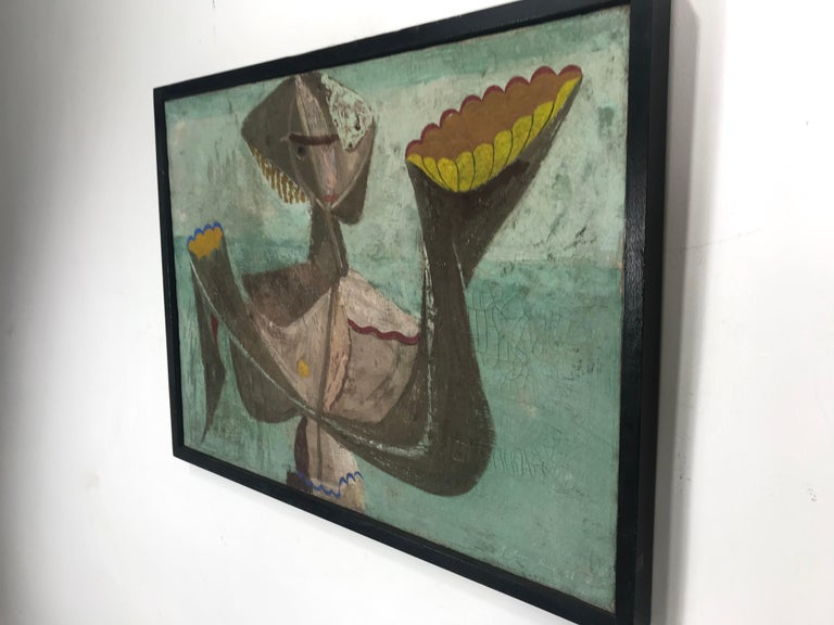 Unusual Modernist Oil on Canvas Surrealist, Signed Oliver Smith, circa 1951 For Sale 2