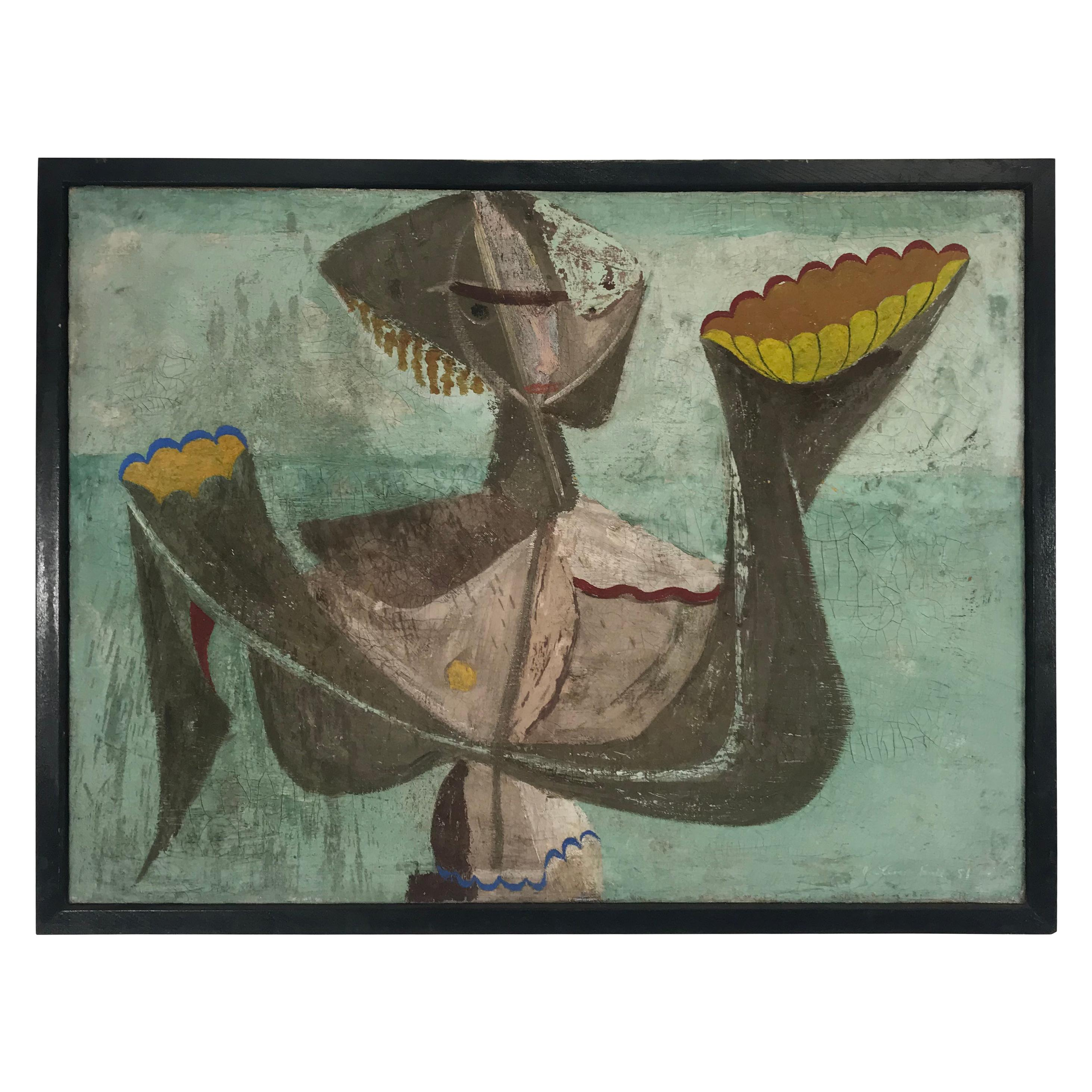 Unusual Modernist Oil on Canvas Surrealist, Signed Oliver Smith, circa 1951
