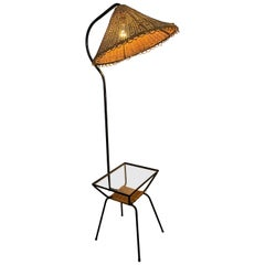 Unusual Modernist  Wicker and Iron Lamp Table, Attributed to Adrian Pearsall
