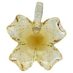 Unusual Murano Hand Blown Art Glass Flower Shaped Bowl
