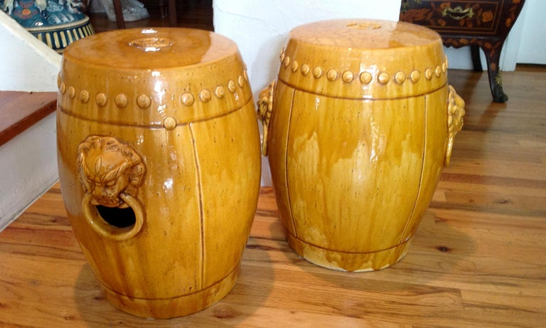 Chinese Unusual Mustard Colored Garden Seats or Stools For Sale