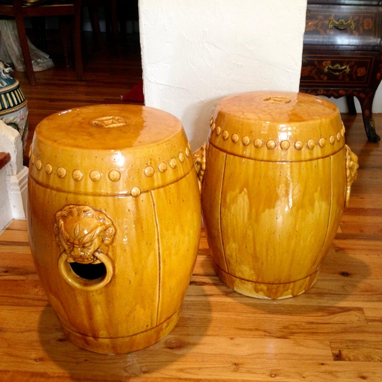 Glazed Unusual Mustard Colored Garden Seats or Stools For Sale