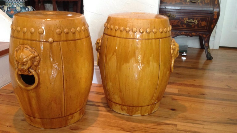 Unusual Mustard Colored Garden Seats or Stools In Good Condition For Sale In West Palm Beach, FL