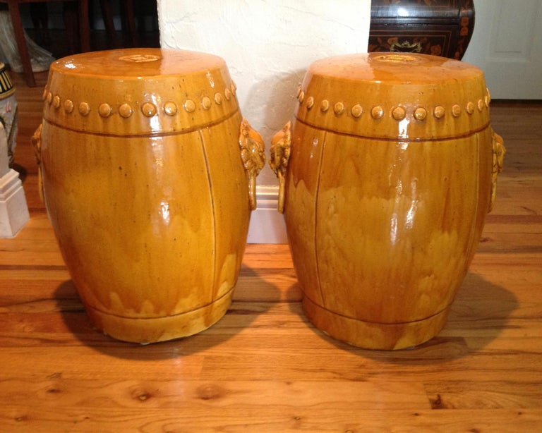 Terracotta Unusual Mustard Colored Garden Seats or Stools For Sale