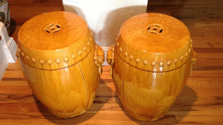 Unusual Mustard Colored Garden Seats or Stools For Sale 1