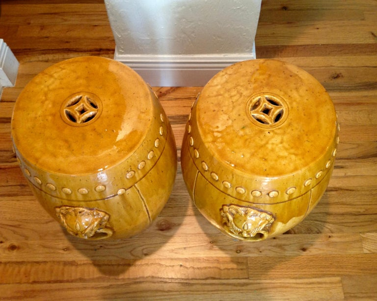 Unusual Mustard Colored Garden Seats or Stools For Sale 2