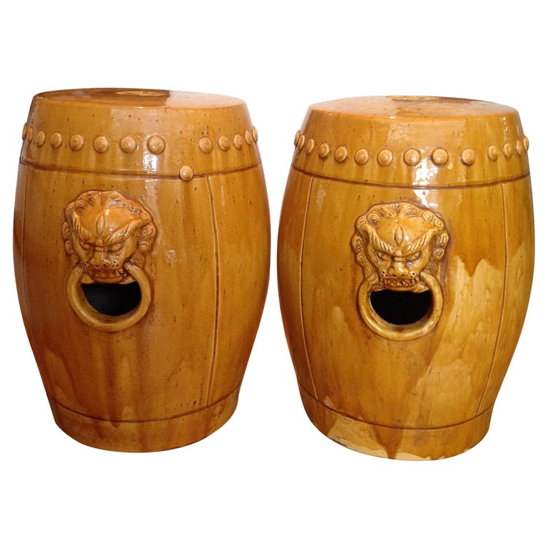 Unusual Mustard Colored Garden Seats or Stools For Sale