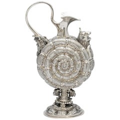 Unusual Neoclassical Continental Silver '.800' Austrian Snail-Form Wine Ewer