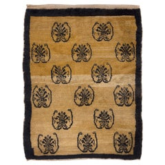 Unusual One-of-a-Kind Anatolian Rug with 15 Blue Carnations on Camel Wool Ground