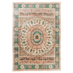 8.4x12 Ft Unusual Vintage Hand-Knotted European Rug. French Design Wool Carpet