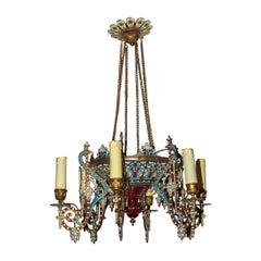 Unusual Orientalist Gilt and Enamel Decorated Six-Light Chandelier