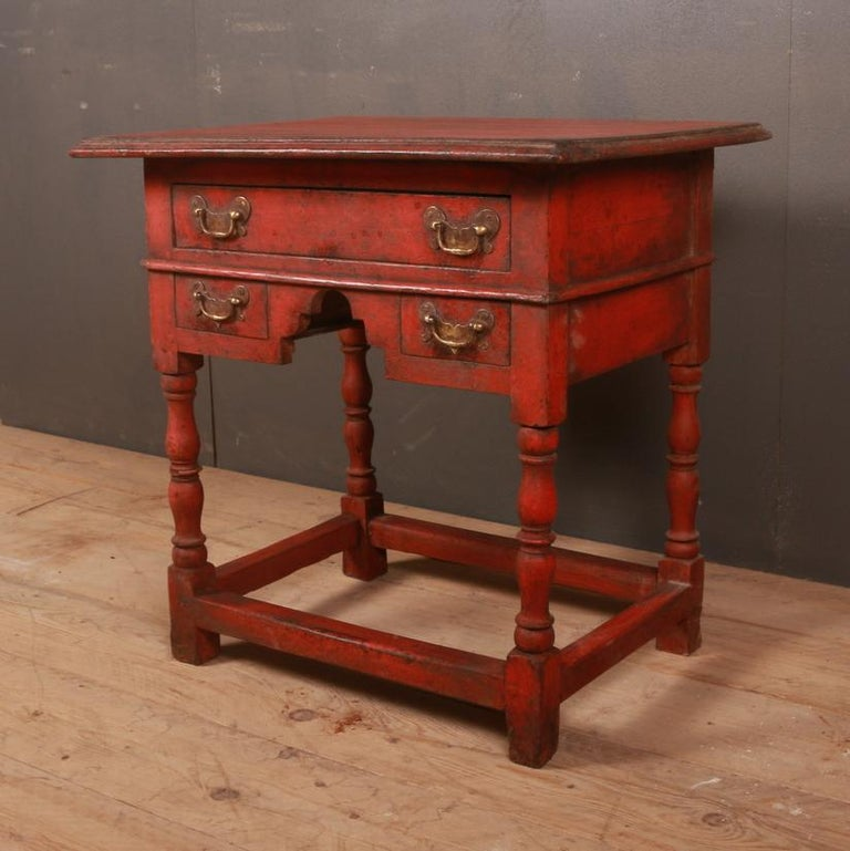 Unusual 18th century painted lowboy, 1780  Dimensions: 29 inches (74 cms) wide 23 inches (58 cms) deep 29.5 inches (75 cms) high.
