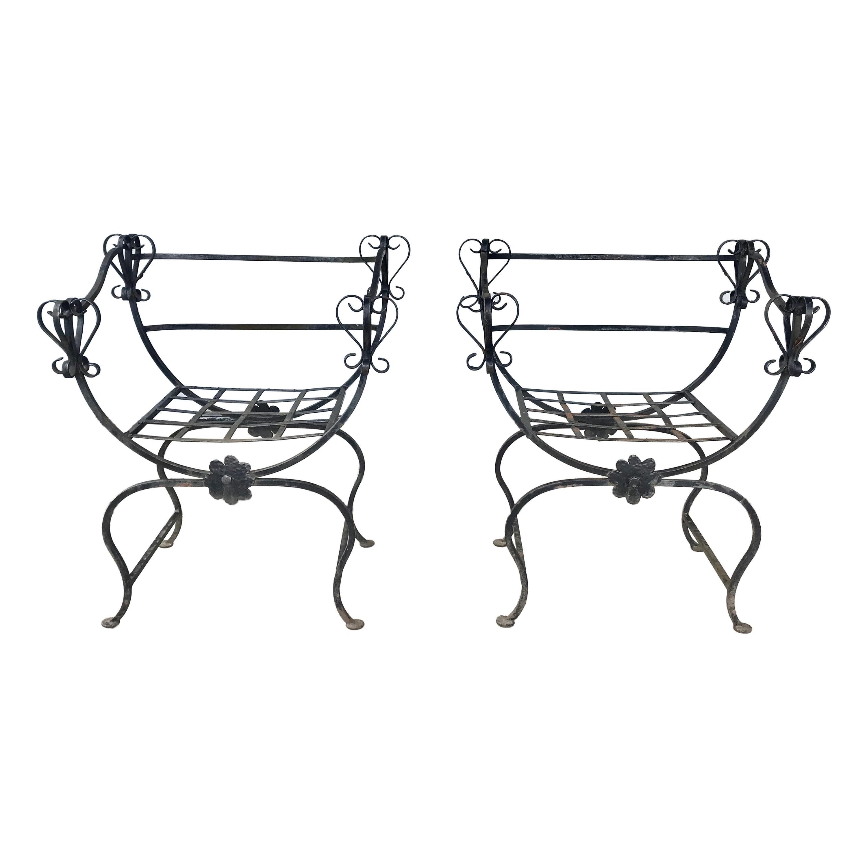 Unusual Pair Iron Chairs, Custom Made, Savonarola Style, Indoor /Outdoor